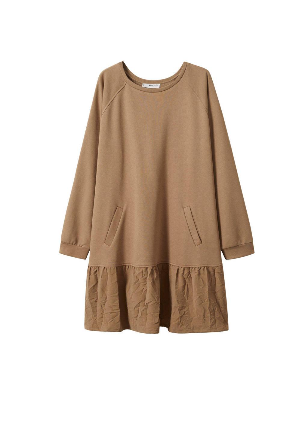 Mango Plus Size A-lijn jurk lichtbruin, Lichtbruin
