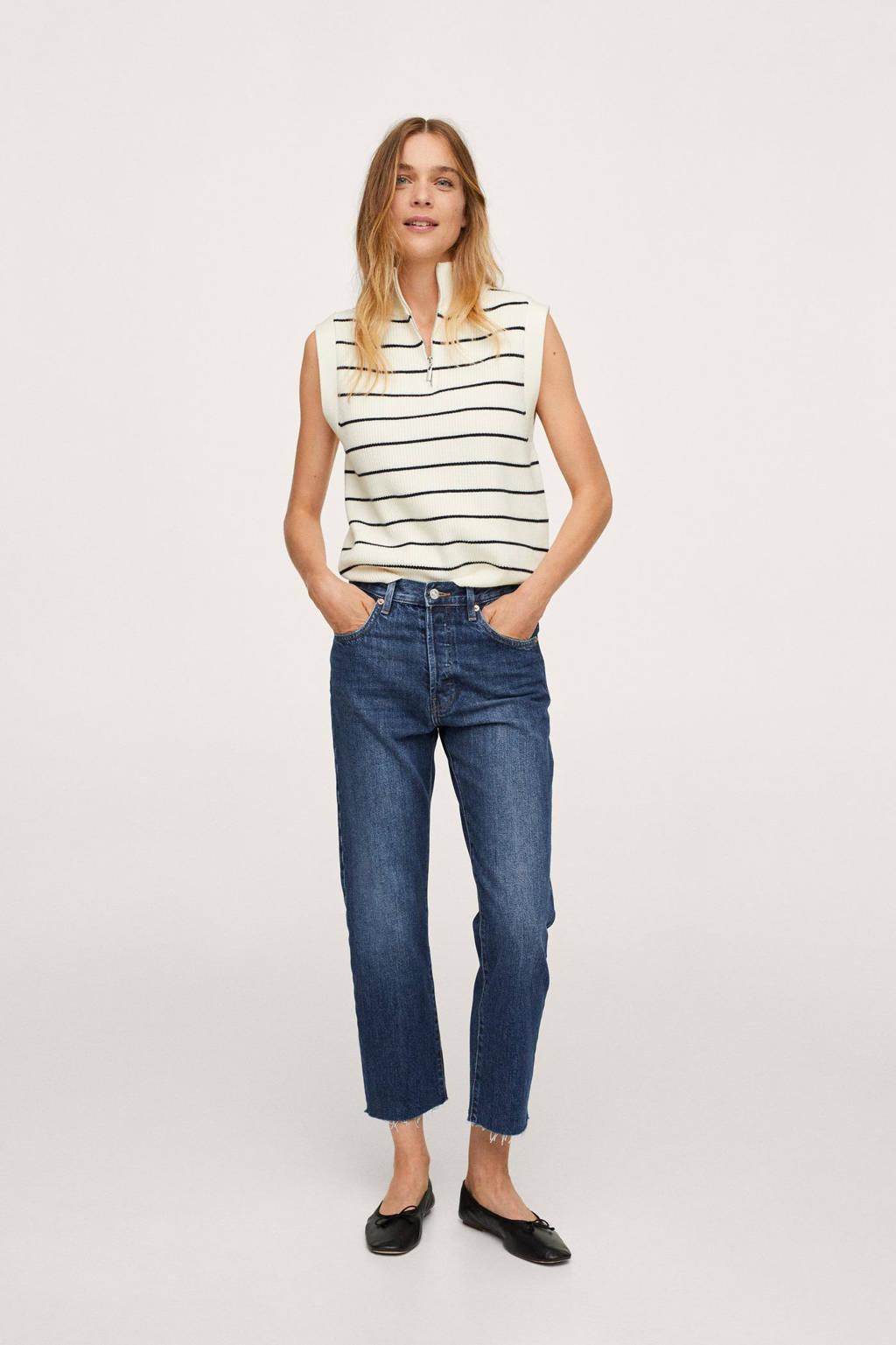 Mango cropped jeans katoen non-stretch blue denim