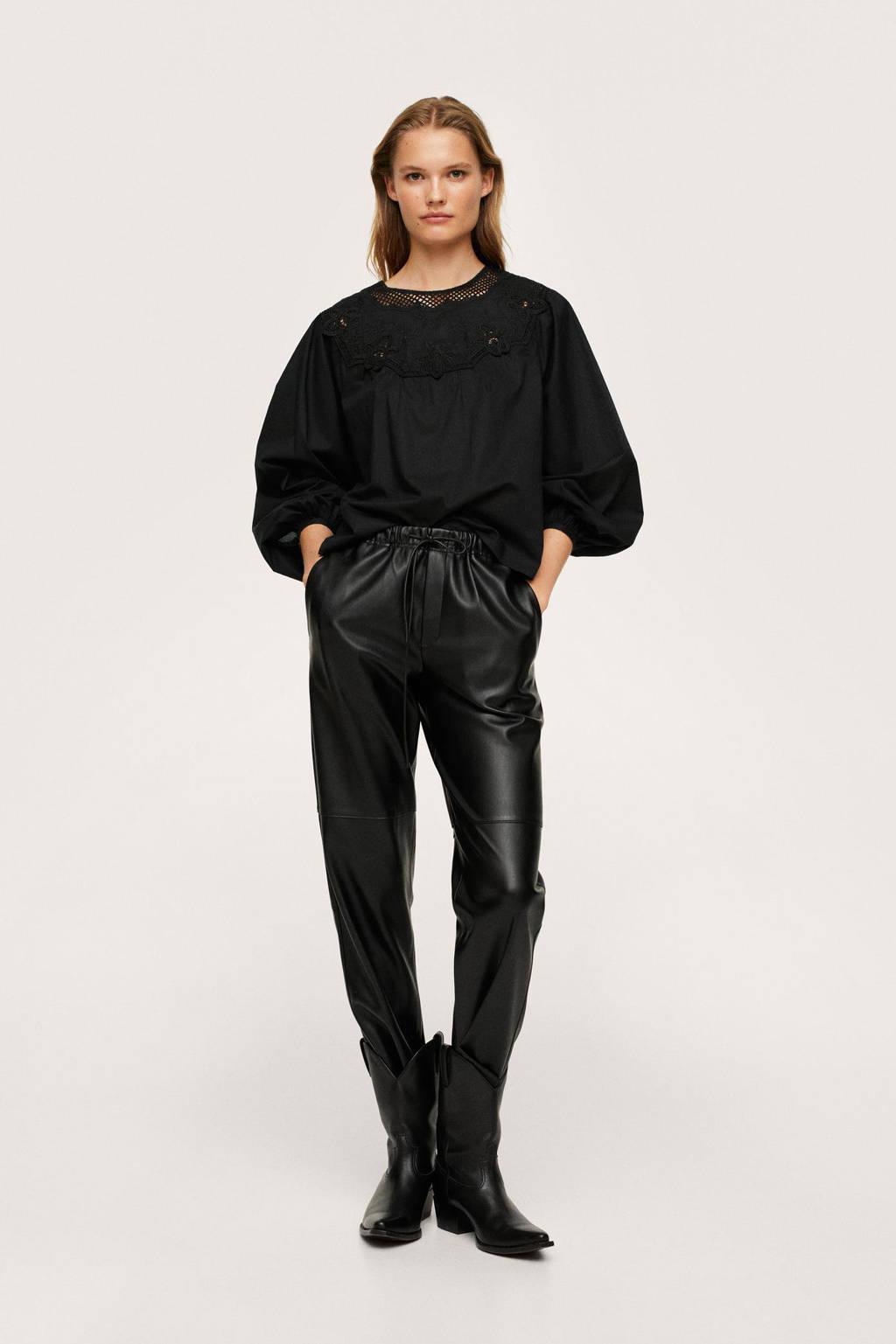 Mango blouse met borduursels zwart, Zwart