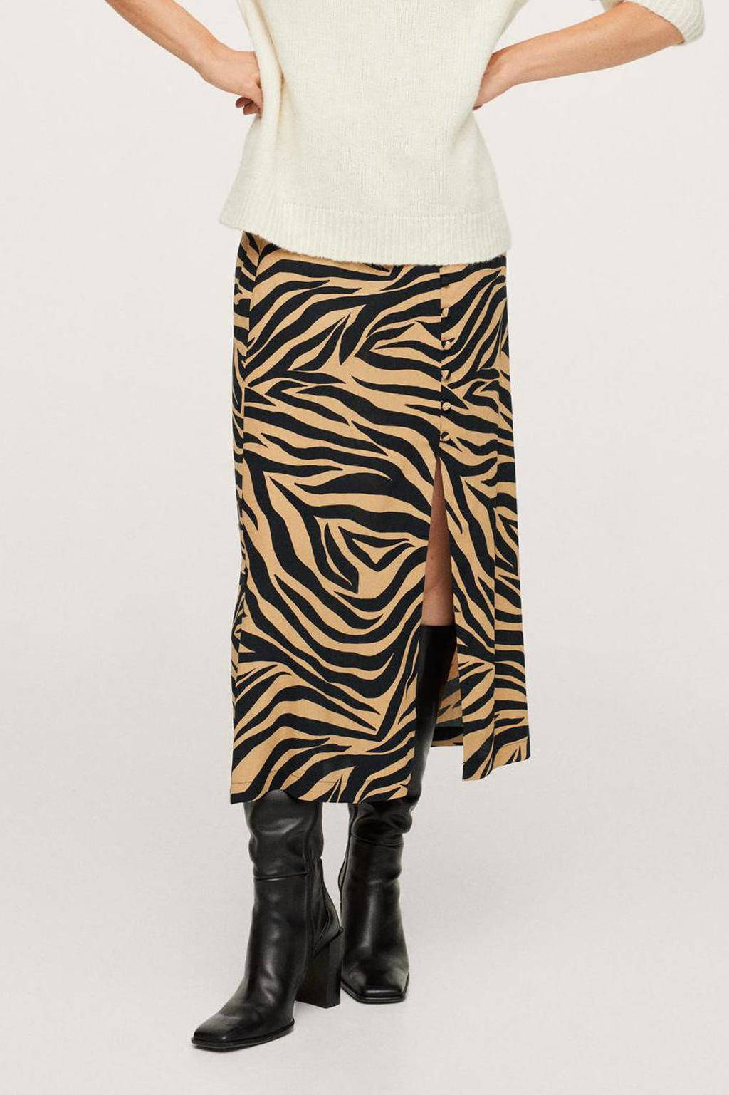Mango midi rok met zebraprint bruin/zwart, Bruin/zwart