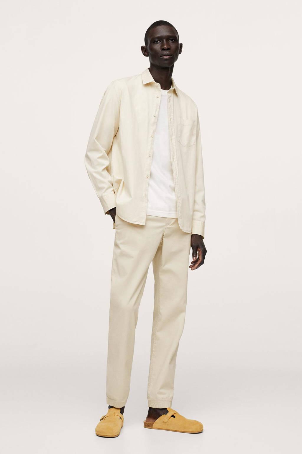 Mango Man regular fit overhemd lichtbeige, Lichtbeige