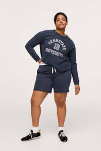 Mango Plus Size sweater met tekst donkerblauw, Donkerblauw
