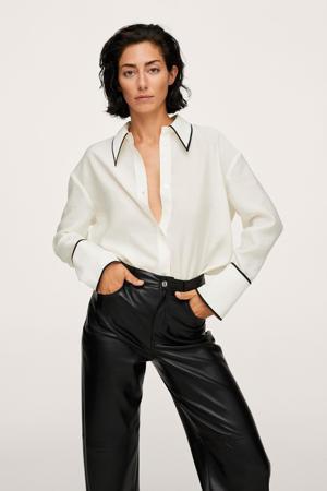 blouse met contrastbies ivoor