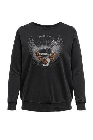 sweater CARFOREVER met printopdruk en glitters antraciet/zilver/oranje