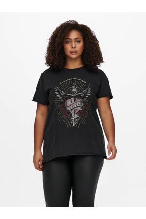 T-shirt CARMIKOFOREVER met printopdruk zwart/donkerrood/grijs