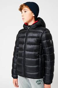 America Today Junior gewatteerde winterjas Jeremy  zwart, Zwart