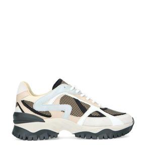 leren chunky sneakers beige/multi