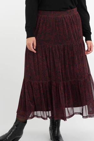 semi-transparante rok met paisleyprint en volant donkerrood/zwart