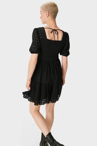 C&A Clockhouse semi-transparante jurk met volant zwart, Zwart