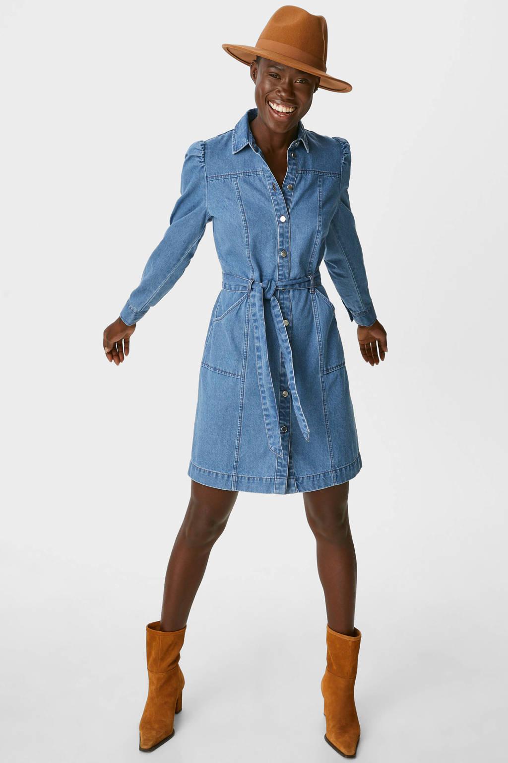 C&A blousejurk met ceintuur blauw, Blauw