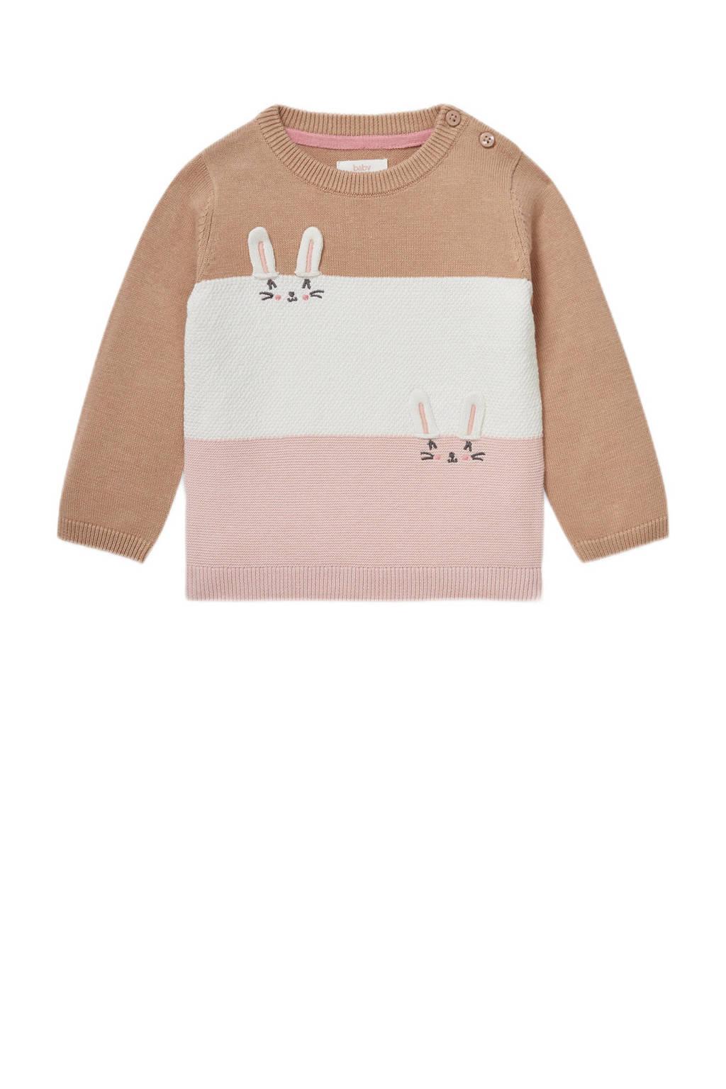 C&A Baby Club gestreepte trui beige/ecru/roze, Beige/ecru/roze