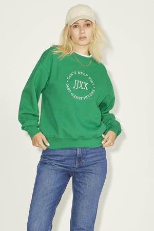 sweater JXBEATRICE met tekst groen