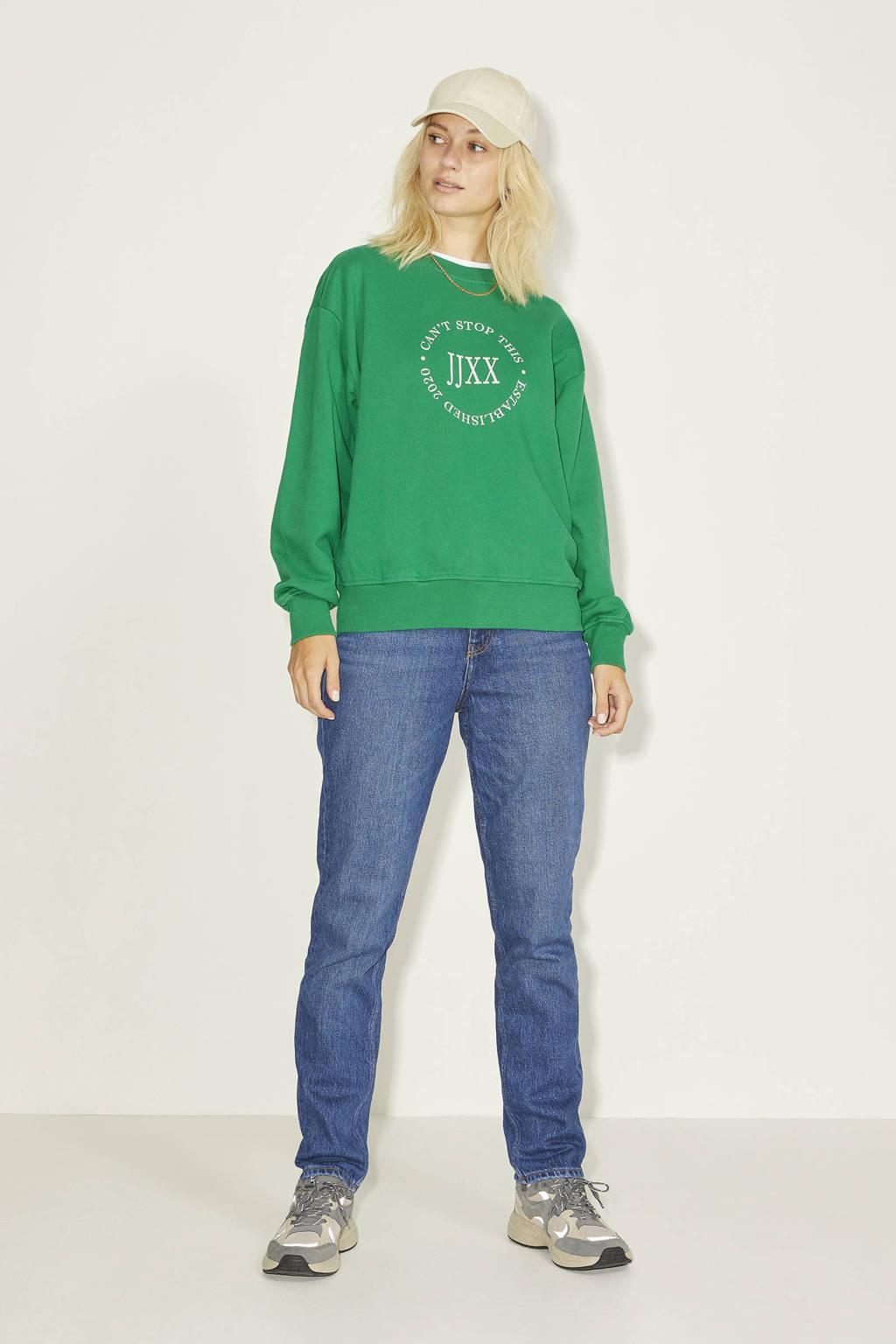 JJXX sweater JXBEATRICE met tekst groen, Groen