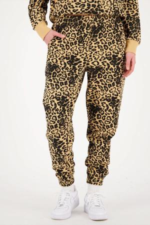 regular fit broek SANNY met panterprint bruin/zwart