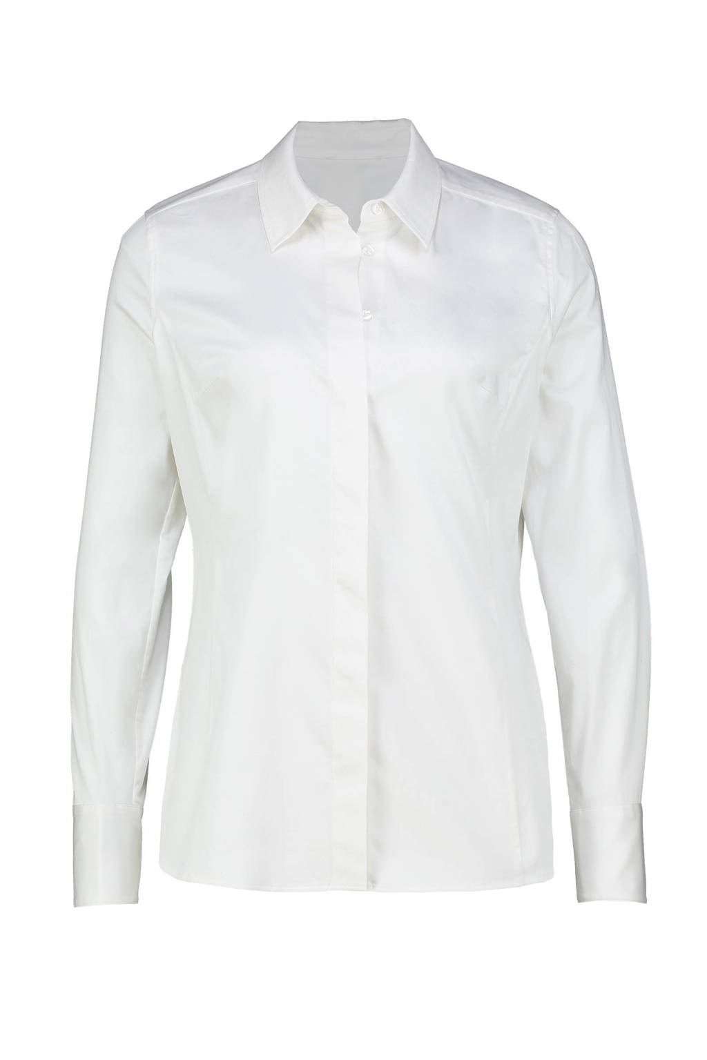 Expresso basis blouse in stretchkatoen wit, Wit