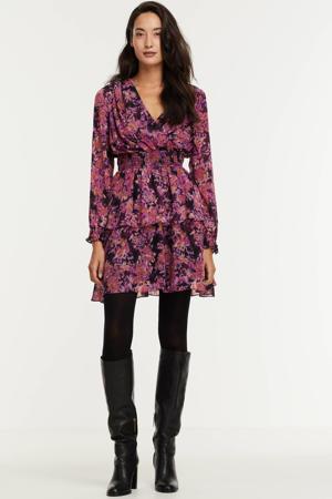 gebloemde A-lijn jurk VMBRITT roze/paars