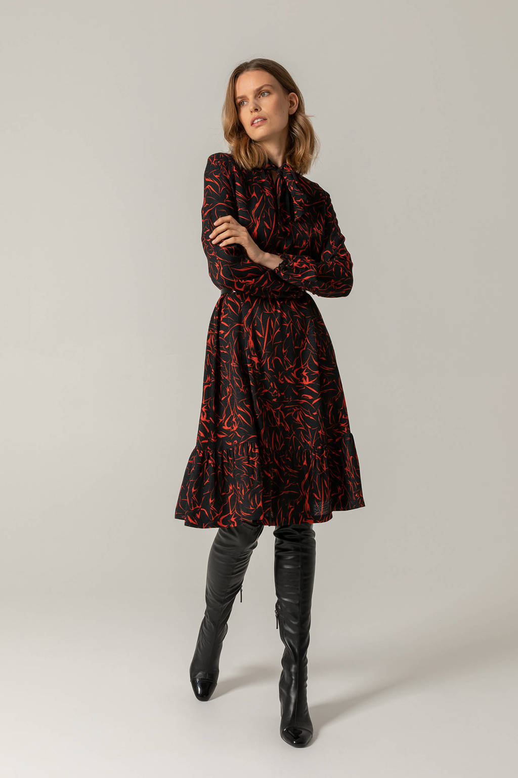 Claudia Sträter A-lijn jurk met all over print en volant zwart/rood/, Zwart/rood/