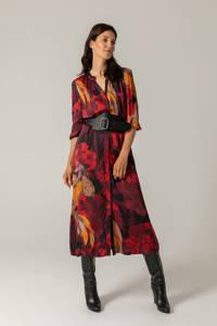 Claudia Sträter jurk met all over print en plooien donkerpaars/rood/geel, Donkerpaars/rood/geel
