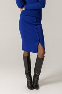 Claudia Sträter fijngebreide rok blauw, Blauw