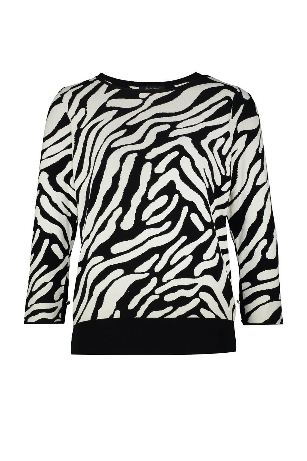 Claudia Sträter fijngebreide trui met zebraprint zwart/ecru, Zwart/ecru
