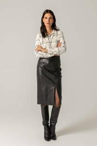 Claudia Sträter geruite blouse ecru/zwart, Ecru/zwart