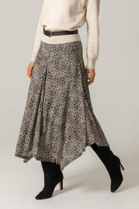 Claudia Sträter semi-transparante rok met all over print zwart/beige, Zwart/beige