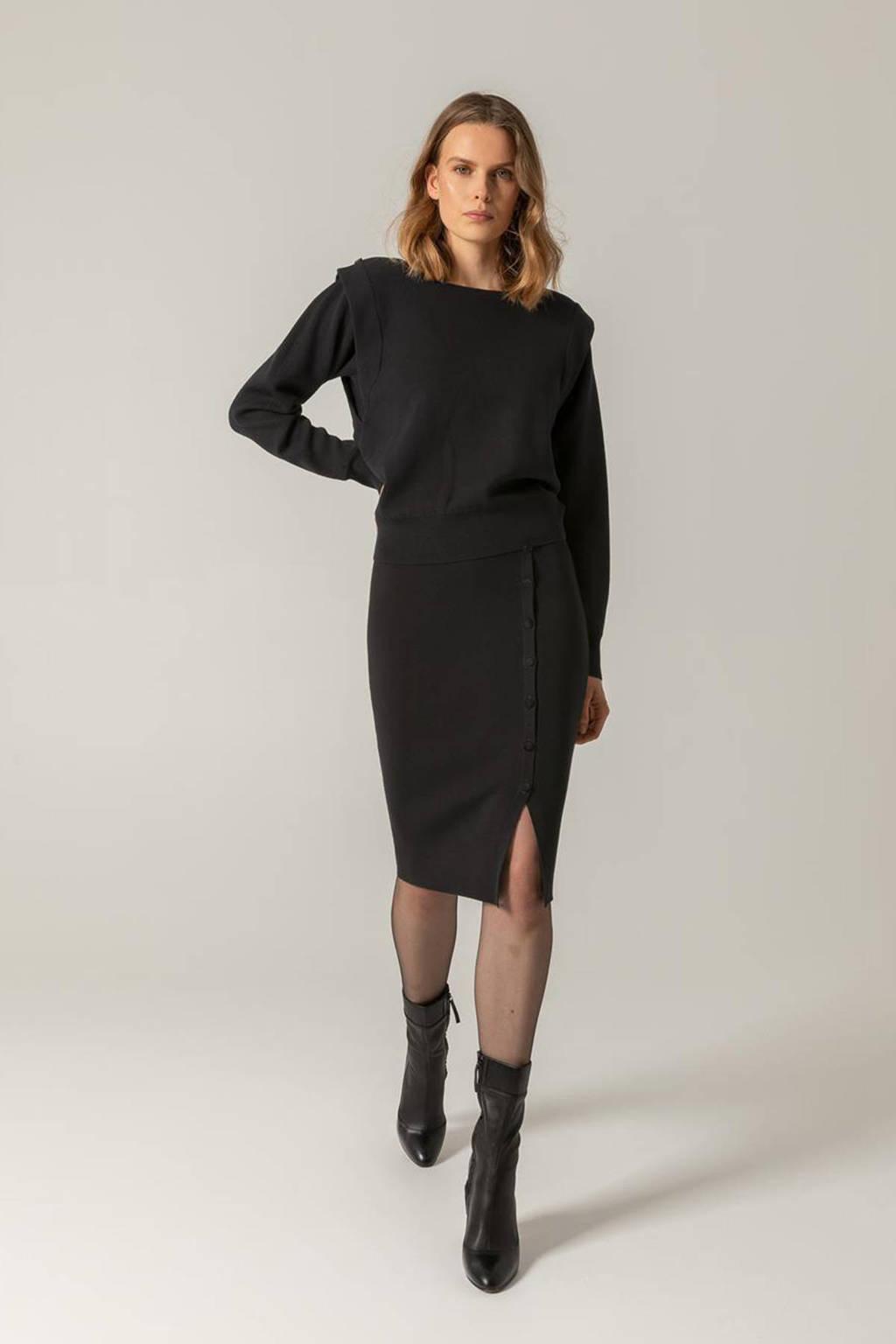 Claudia Sträter fijngebreide trui zwart, Zwart