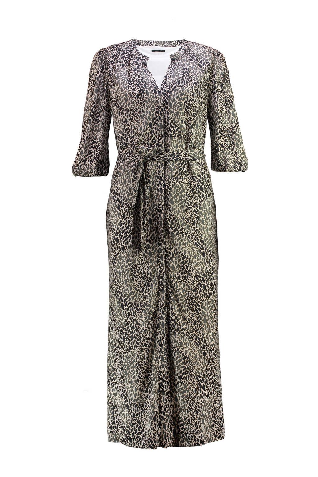 Claudia Sträter semi-transparante maxi jurk met all over print beige/zwart, Beige/zwart