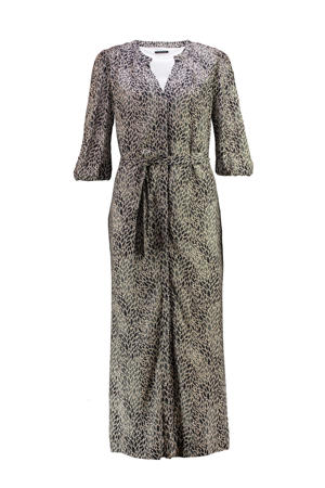 semi-transparante maxi jurk met all over print beige/zwart