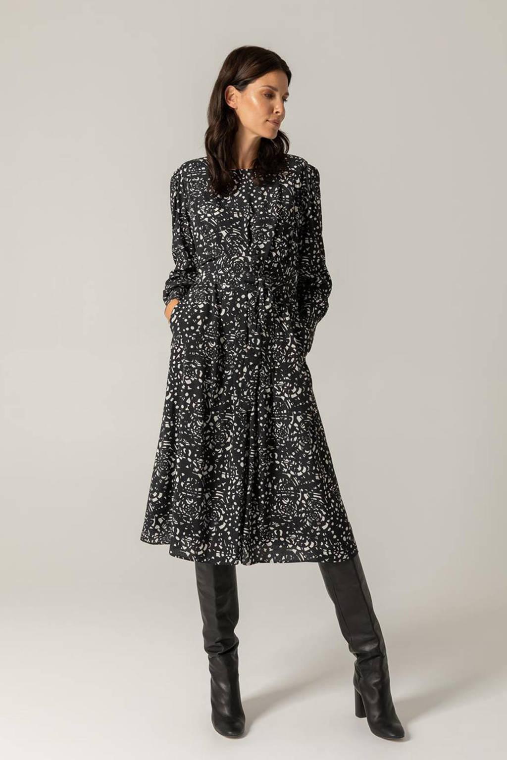 Claudia Sträter A-lijn jurk met all over print en plooien zwart/wit, Zwart/wit