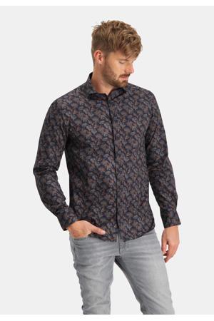 slim fit overhemd met all over print 5926 dark blue
