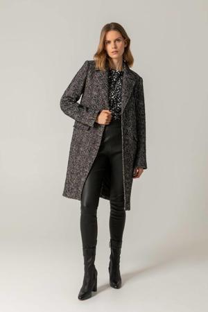 coat met visgraat zwart/ecru