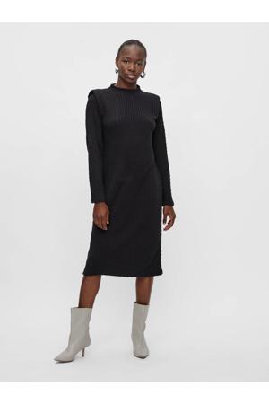 jurk OBJSTELLA van gerecycled polyester zwart