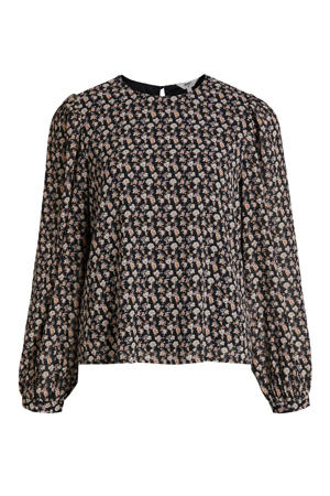 gebloemde blouse OBJMILA van gerecycled polyester zwart/roze