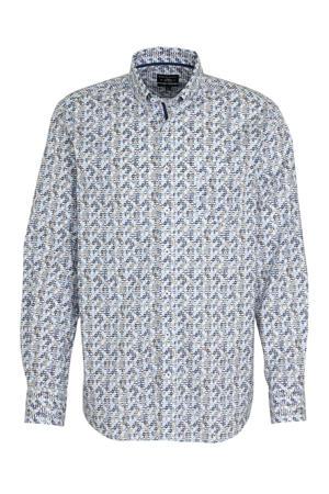 regular fit overhemd met all over print blauw/grijs
