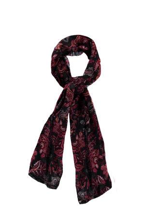 bloemenprint sjaal zwart/rood