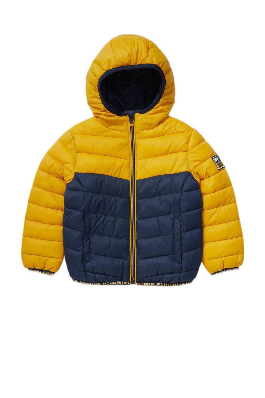 C&A gewatteerde winterjas geel/donkerblauw, Geel/donkerblauw