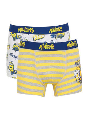boxershort Minions - set van 2 geel/wit