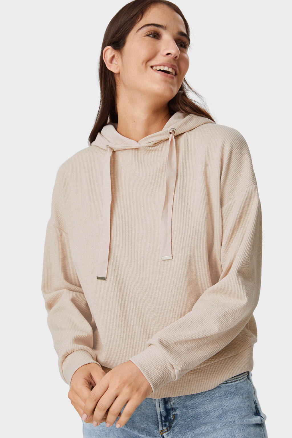 C&A hoodie met biologisch katoen beige, Beige