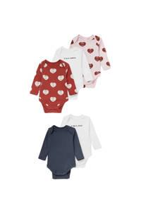 C&A Baby Club romper - set van 5 rood/wit/grijs, Rood/Wit/Grijs