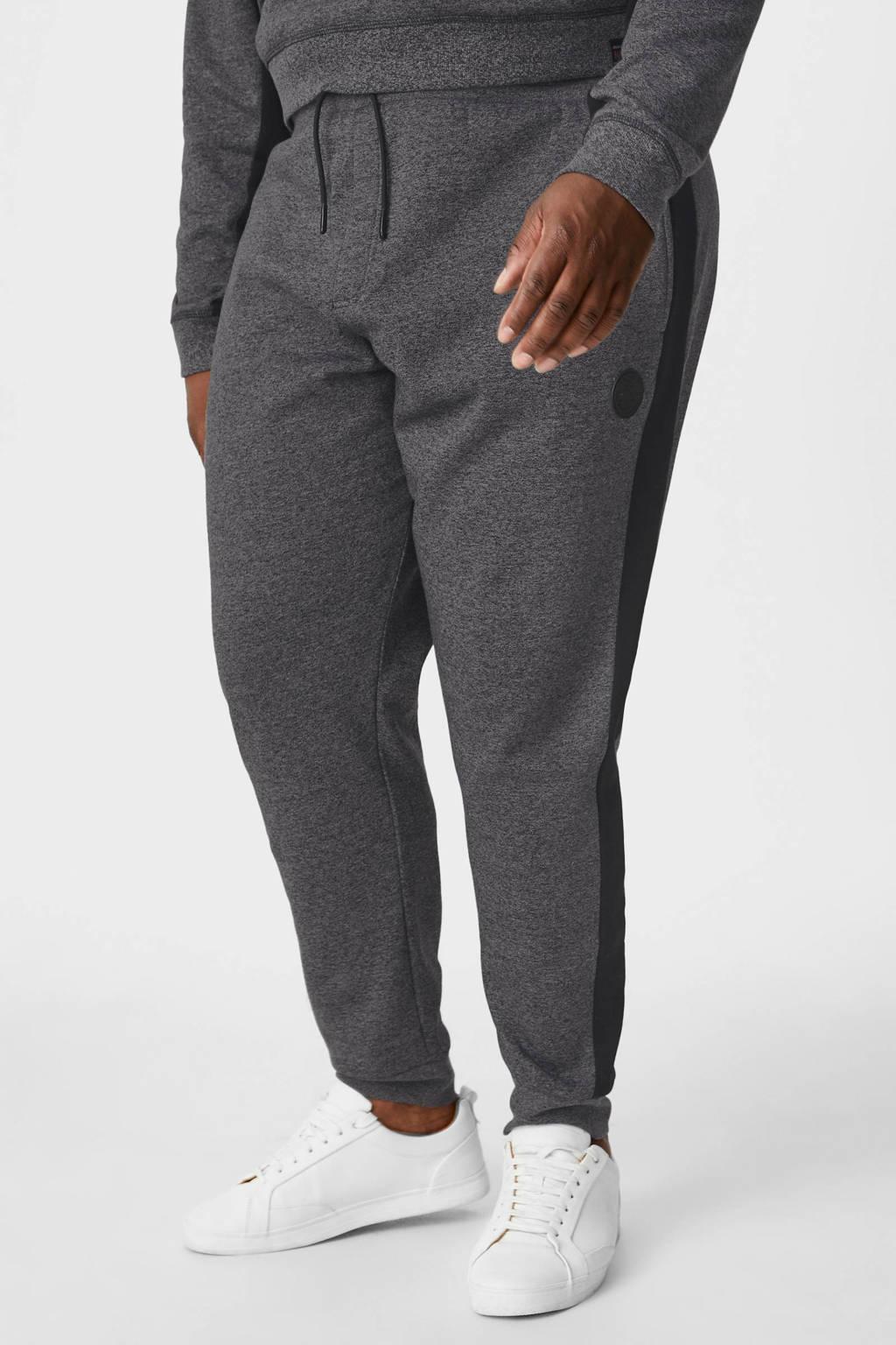 C&A XL gemêleerde regular fit broek met zijstreep grijs, Grijs