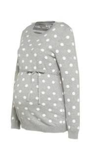 C&A zwangerschapstrui met stippen en ceintuur grijs/wit, Grijs/wit