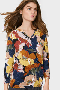 C&A gebloemd T-shirt roze/blauw/geel/oranje, Roze/blauw/geel/oranje