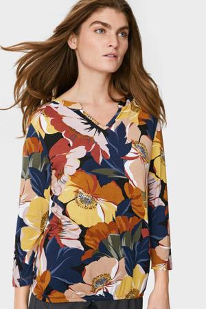 gebloemd T-shirt roze/blauw/geel/oranje