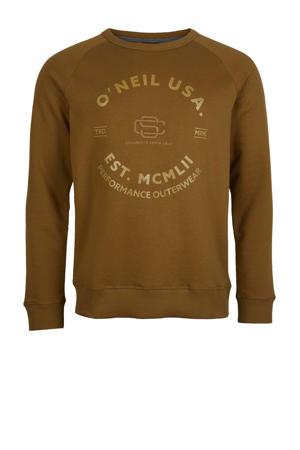 sweater Americana Crew met printopdruk bruin