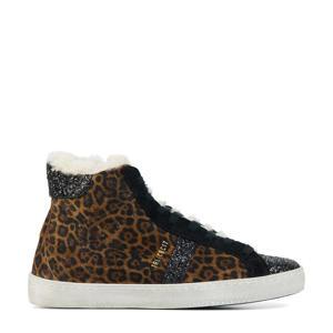 12736  hoge suède sneakers met panterprint bruin