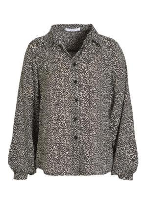 blouse GADA met all over print zwart/wit