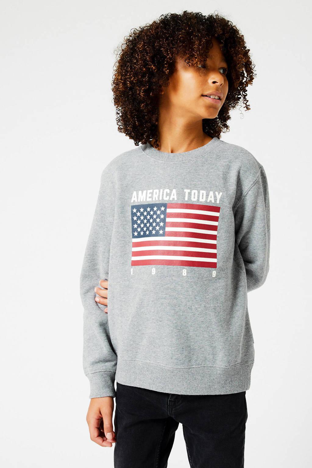 America Today Junior sweater Simon Flag met tekst lichtgrijs melange, Lichtgrijs melange