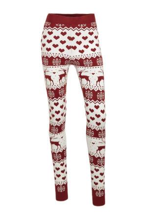 skinny legging ONLXMAS met all over print donkerrood/wit