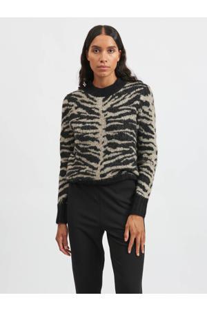 gebreide trui VIELLIE met zebraprint zwart